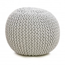 Casa Knitted Pouffe, Grey