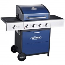 Outback Meteor Gas 4 Burner BBQ, Blue