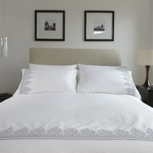 Veneitan Lace Duvet Set Double, Silver