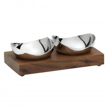 Robert Welch Drift Pinch Pot Set Of 2 Walnut, Stainless Steel