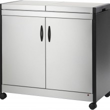 Hostess Trolly Metal-wood Effects Brushed Stainless Steel