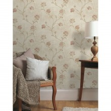 Holden Decor Opus Rosalea Wallpaper, Red/Beige