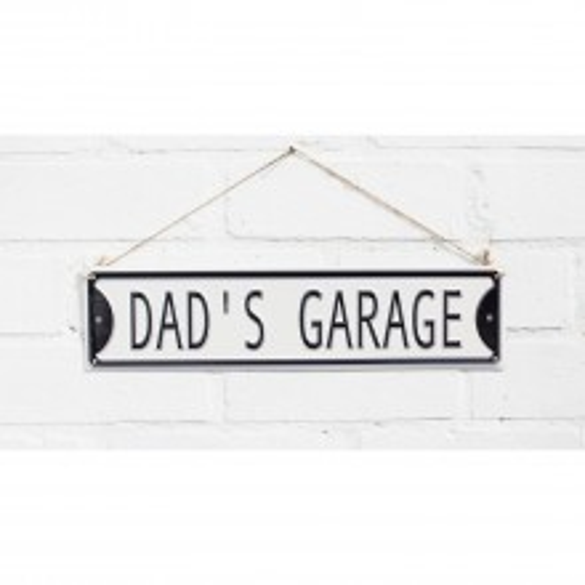 La Hacienda Dad's Garage Metal Sign, Black/white