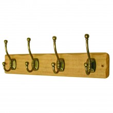 Headbourne 4 Decorative Ball End Hooks On Rustic Light Wooden Rack Board Hanger
