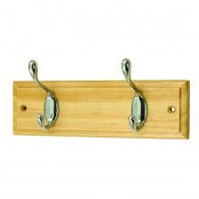 Headbourne 2 Heavy Duty Hat and Coat Hooks on Pine Board