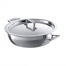 Le Creuset 3-Ply Stainless Steel, 24cm Shallow Casserole with Lid