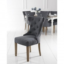 Casa Pair of Winged Button Metal Ring Dining Chairs