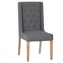 Casa Pair Of Winged Button Studded Dining Chairs