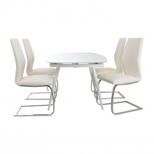 Casa Crystal Table & 4 Chairs Dining Set