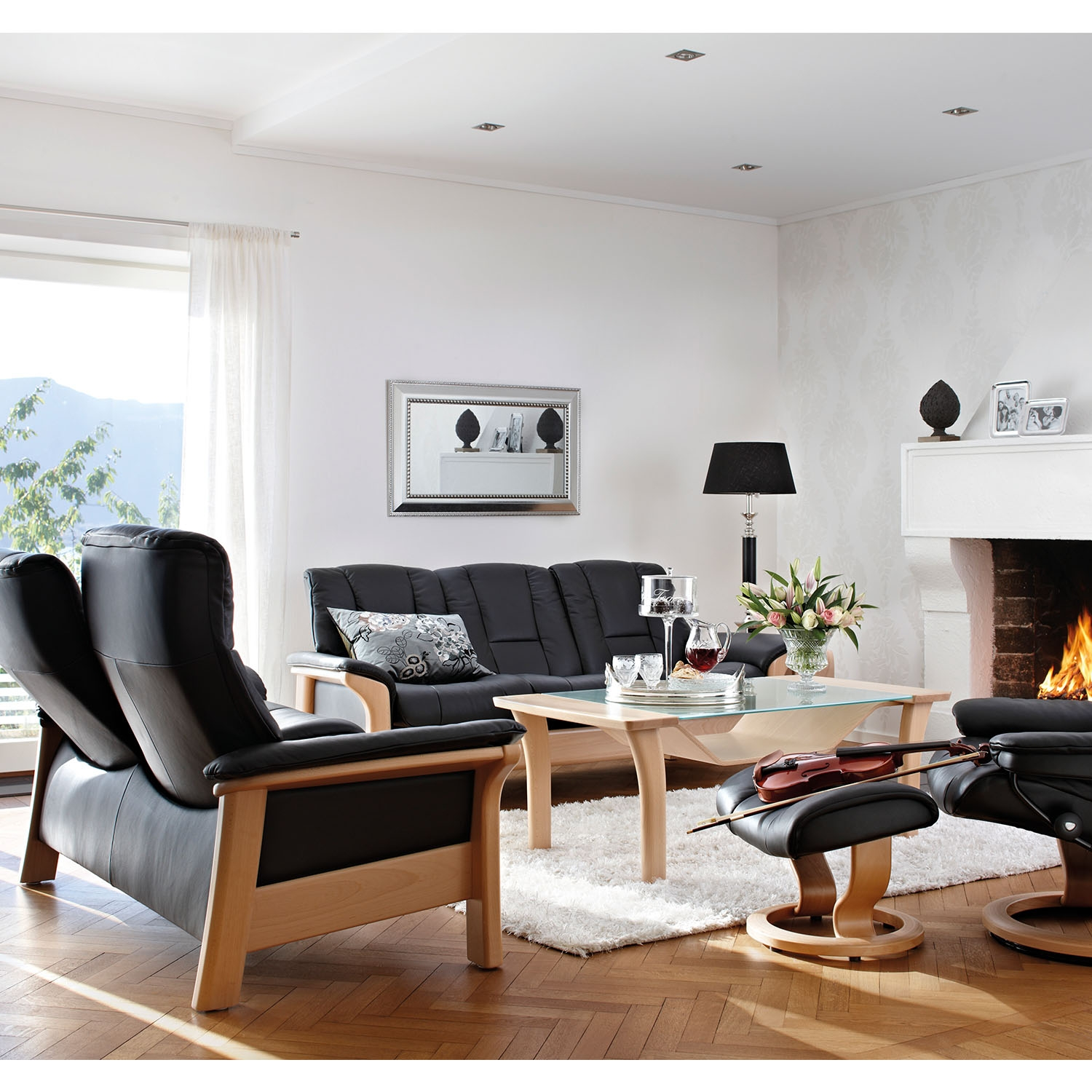 Image of Stressless Buckingham High Back 3 Seater Leather Sofa